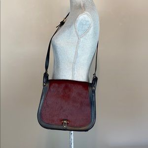 Cavalcanti Saddle Calf Hair Red Black Leather Bag